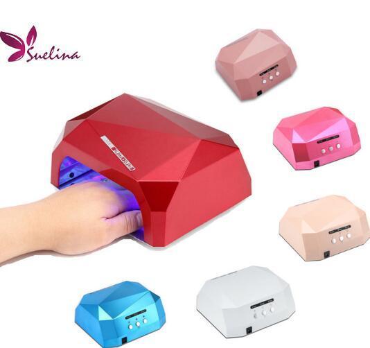 Suelina Nail Dryer&FREE SHIPPING Sensor 36W Diamond Shaped Nail Lamp LED & CCFL Curing For UV Gel Nails Polish Nail Art Tools