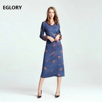 2017 Autumn Winter Knitted Dress V Neck Sweet Rose Floral Print Drawstring Waist Blue Dark Red
