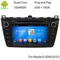 """8 """"Quad Core Android 5.1.1 Para Mazda 6 Carro DVD Player construído em GPS de Navegação Wi-fi de Rádio de Áudio Estéreo Bluetooth Com Canbus"""