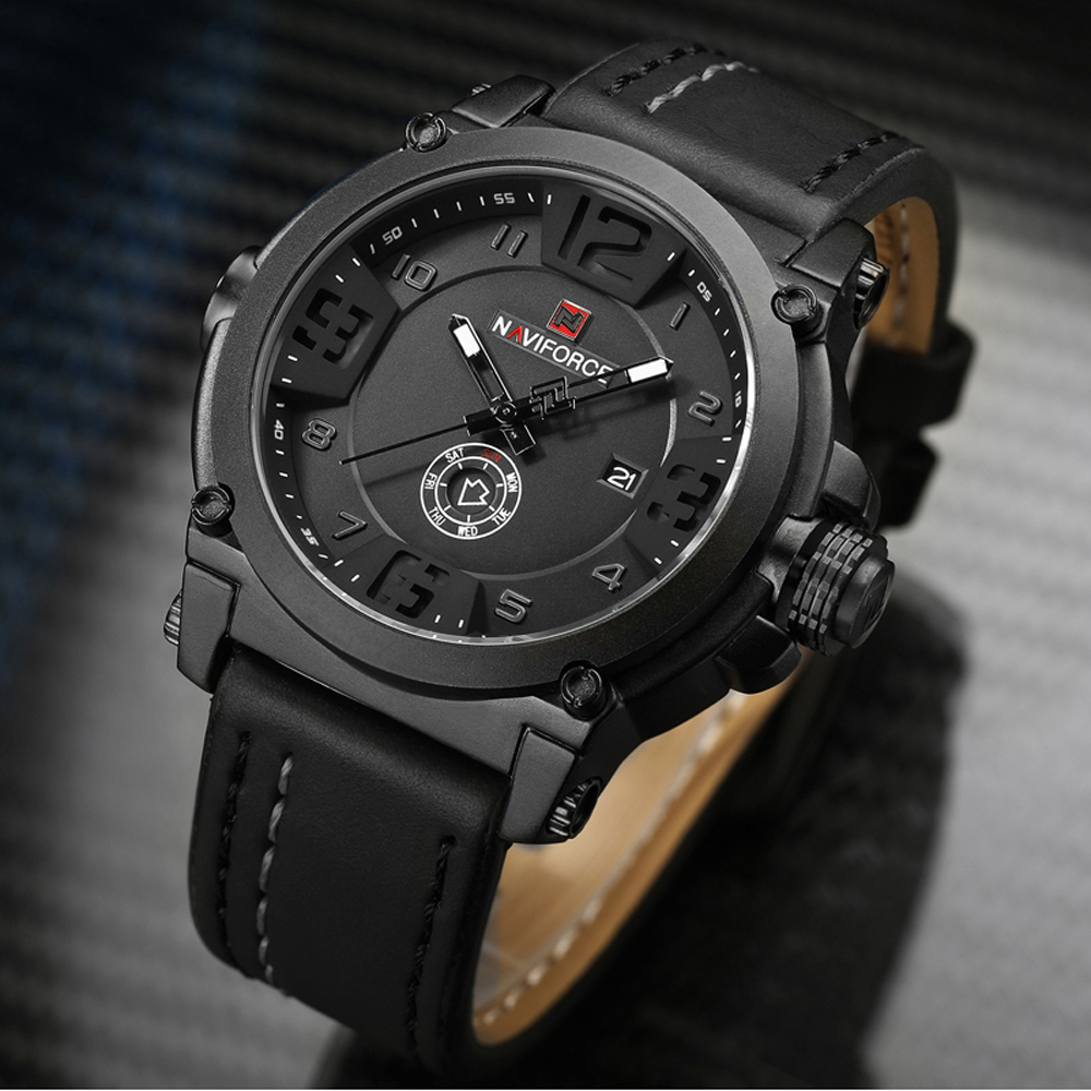 NAVIFORCE Mens Watches Top Brand Luxury Sport Quartz-Watch Leather Strap Clock Men Waterproof Wristwatch relogio masculino 9099 hongc watch men quartz mens watches top brand luxury casual sports wristwatch leather strap male clock men relogio masculino