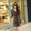 De manga larga de las mujeres sexy leopard dress club wear party bodycon vestidos drapeado delgado mini vestido