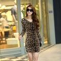 Long Sleeve Women Sexy Leopard Dress Club Wear Party Bodycon Dresses Draped Slim Mini Vestido