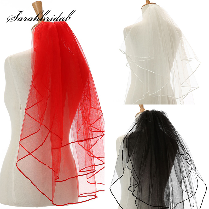 Simple 3 Layers Bridal Veils Black Red White Color Ribbon Edge Wedding Veil With Comb Wedding Accessories Cheap In Stock 11054