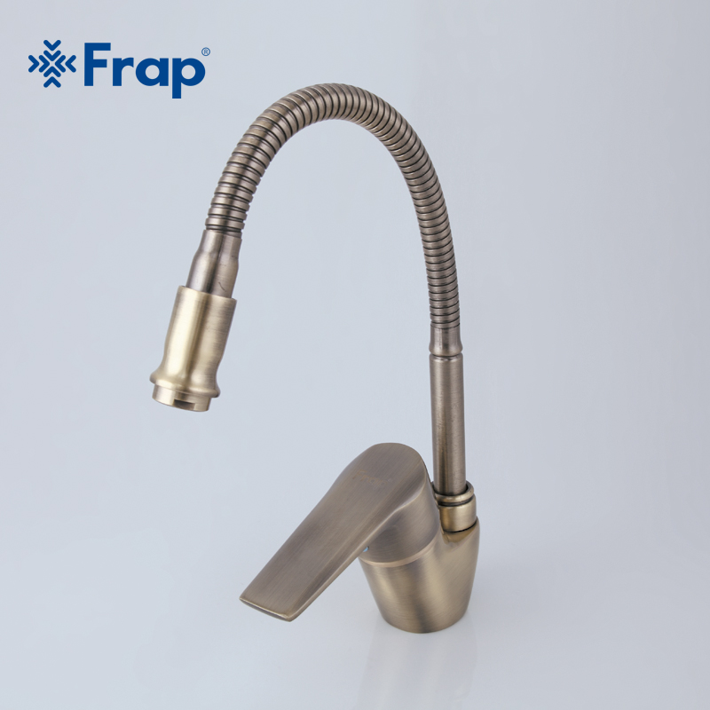 Frap Antique Style Bronze Kitchen Faucet Cold and Hot Water Mixer Tap Torneira Cozinha Flexible Nose 360 Degree Rotation F4330-4