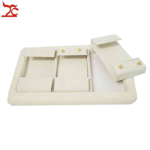 High Quality Jewelry Display Tray Beige Velvet With 3 Removable Earrings Holder 6pairs Earring Stud