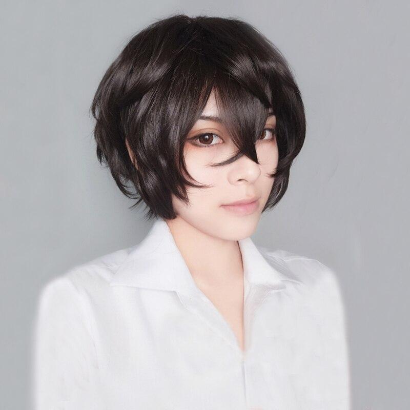 Nova chegada anime bungo cães vadios dazai osamu curto marrom encaracolado cabelo resistente ao calor cosplay traje peruca + faixa boné