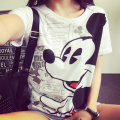 Fashion New 2016 summer women t-shirts short sleeve o-neck cartoon mouse printed Harajuku vintage cotton T shirt women slim Tops