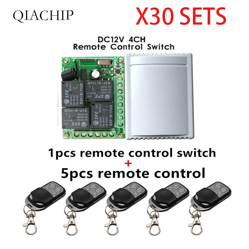 433Mhz  Wireless 30pcs Remote Control Switch DC12V 4CH relay Receiver Module and 150pcs 4 channel RF Remote 433 Mhz-in Remote Controls from Consumer Electronics