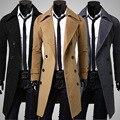 2016 poliéster Clássico na altura do joelho inverno quente longo mens trench coat Nova Chegada top homem moda casaco trench coat