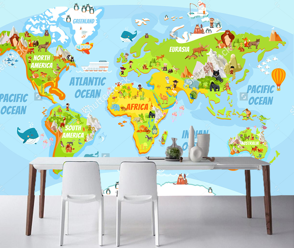 Children's wallpaper, Cartoon world map with a lot of funny animals for boys and girls room bedroom background papel de parede map of fates