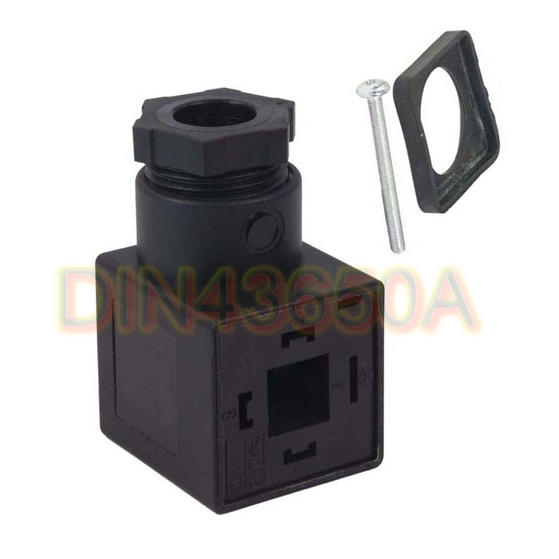 Free Shipping 20PCS/LOT DiIN43650A Line-Socket Plug For Valve Solenoid Coils Connector 3+1 GND 18mm Foot Distance