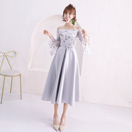 2018new Stock Plus Size Women Pregnant Wedding Party Bridesmaid Dresses Satin Sexy Romantic A Line Silver Dresses Abe183