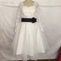 Ivory Short Wedding Dresses Knee Length Vintage 50S Styles Long Sleeves Sweetheart Neck Sash Short Wedding