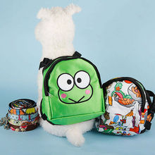 Pet Backpack Pet Puppy Cats Cute School Bag with Leash Self Dog Bag Harness Vest Outdoor Portable Travel Tote Cartoon Pattern