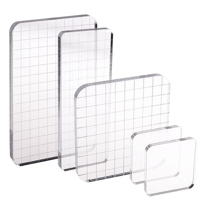 Lind Kitchen 10x10x1cm Square Stamp Block with Grid,Acrylic Clear Stamping Pad Tools for DIY Scrapbooking Crafts Making Decorative