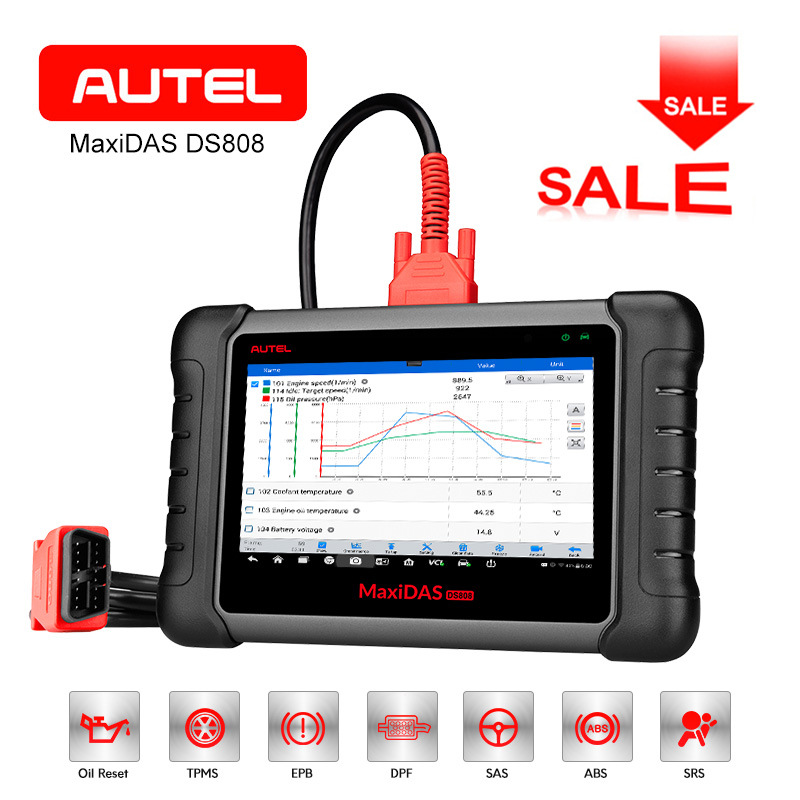 AUTEL MaxiDAS DS808 OBD2 Diagnostic Tool Scanner Key Programming Tool ECU coding ABS SRS Auto OBDII WiFi PK DS708 Code Reader