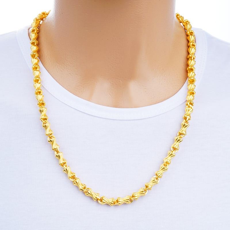 Male Necklace Women Jewelry Pulseira Masculine Fine 24K Gold Chunky Chain Link Neck Charm Choker Wholesale Bileklik for Man цена и фото