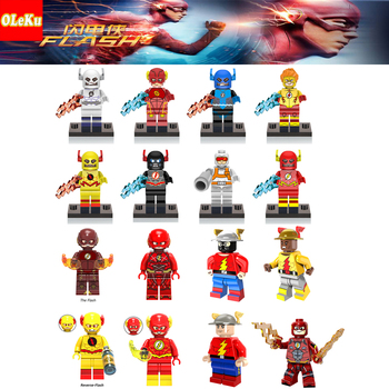 Oleku Flash Super Heroes The Red Yellow Black Flash Jesse Quick Punisher Captain Britain Building Blocks Children Toys figures legos for boys ninjago