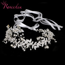 New Vintage Diamante 100% handmade Bridal Headband gold pearl Wedding Hairpieces wedding hair tiaras RE733