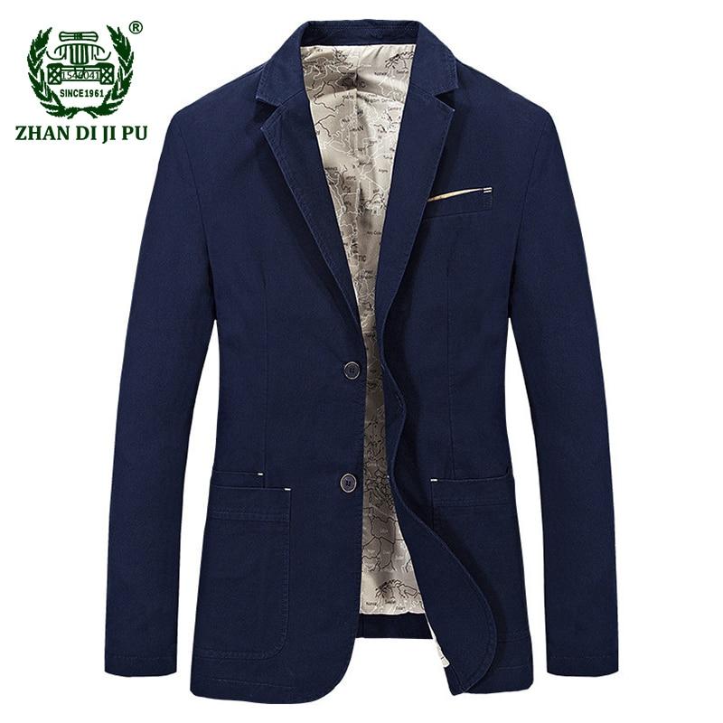 2018 Autumn gentry men's fashion casual brand blazer coats man spring 100% pure cotton afs jeep blazers khaki slim suits jacket