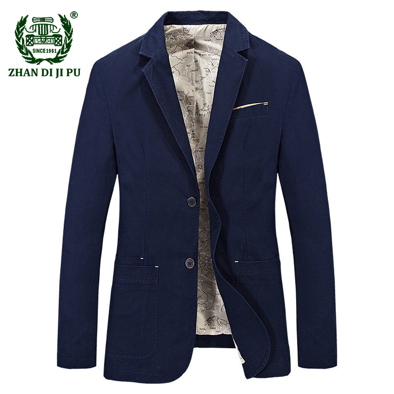 2018 Autumn gentry men's fashion casual brand blazer coats man spring 100% pure cotton afs jeep blazers khaki slim suits jacket