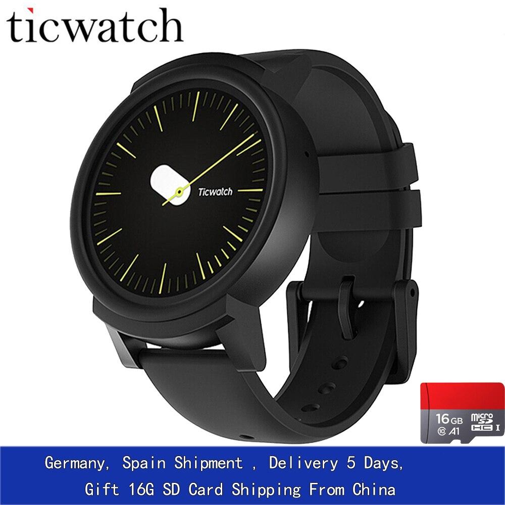 Regalo 16G Ticwatch E Expres reloj inteligente Android Wear OS Dual Core Bluetooth 4,1 WIFI GPS Smartwatch teléfono IP67 inteligente foto reloj