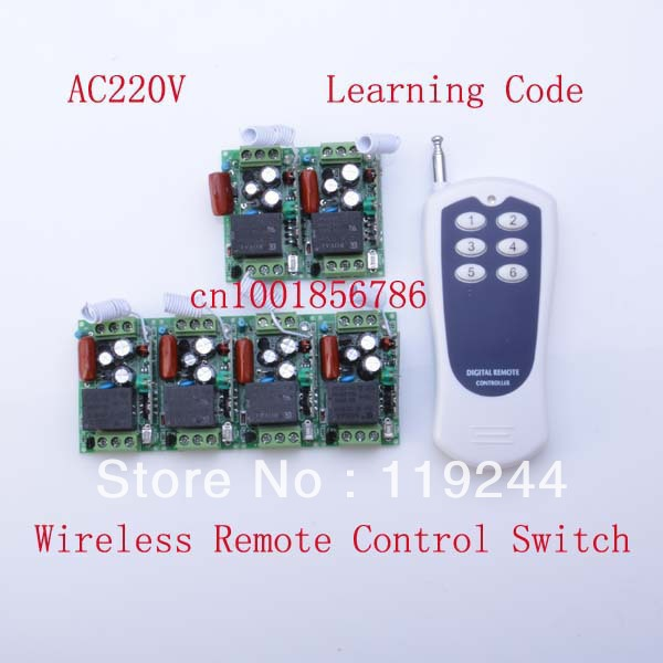 Free Shipping 220V 1CH 315/433Mhz Learning Code Radio RF Wireless Remote Control Switch System 6 Receiver& transmitter new rf wireless switch wireless remote control system 2transmitter 12receiver 1ch toggle momentary latched learning code 315 433