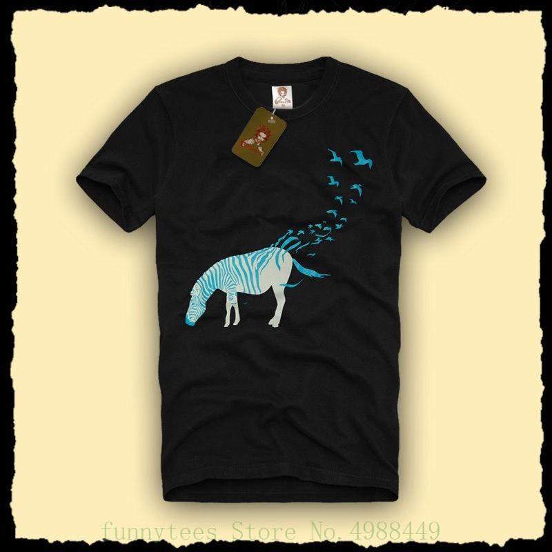 Zebra Birds Graphic Design Men's T Shirt Nature Swag Safari Fun Parody Tee S - Xxl Summer Blacks Cotton Fashion