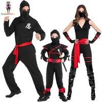 Black Family Member Man Women Boy Ninja Costume Masked Warriors Halloween Costumes Rogue Kids Stealth Ninja