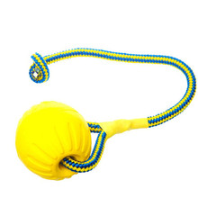 7/9CM Pet Dog Training Toy Ball Indestructible Solid Rubber Balls Chew Play Fetch Bite Toy with Carrier Rope Bite Resistant.