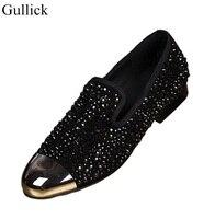 Hot Selling Black Crystal Embellished Men Dress Shoes Gold Metal Toe Red Black Leather Shoes Men