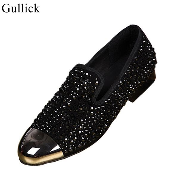 Hot Selling Black Crystal Embellished Men Dress Shoes Gold Metal Toe Red Black Leather Shoes Men sapato masculino Size 38-46 men party shoes oxfords 2015 hot men s genuine leather shoes brand sapato masculino couro social round toe palladium shoes 38 46