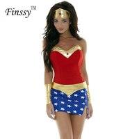 2018 Cosplay Frauen Wonder Woman Kostüme Erwachsene Halloween-kostüm für Frauen Party Kleid Kopfschmuck Handgelenk