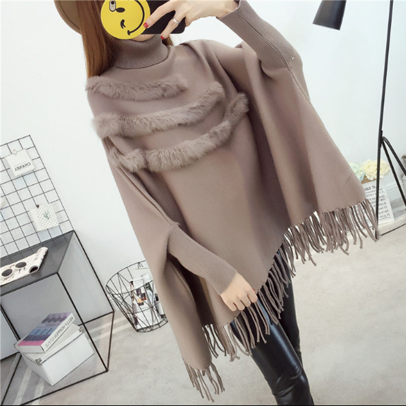 Fashion Autumn Winter Women Turtleneck Rabbit Fur Cloak Pullover Tassel Shawl Sweater Knitted Loose Poncho With Sleeve F1307