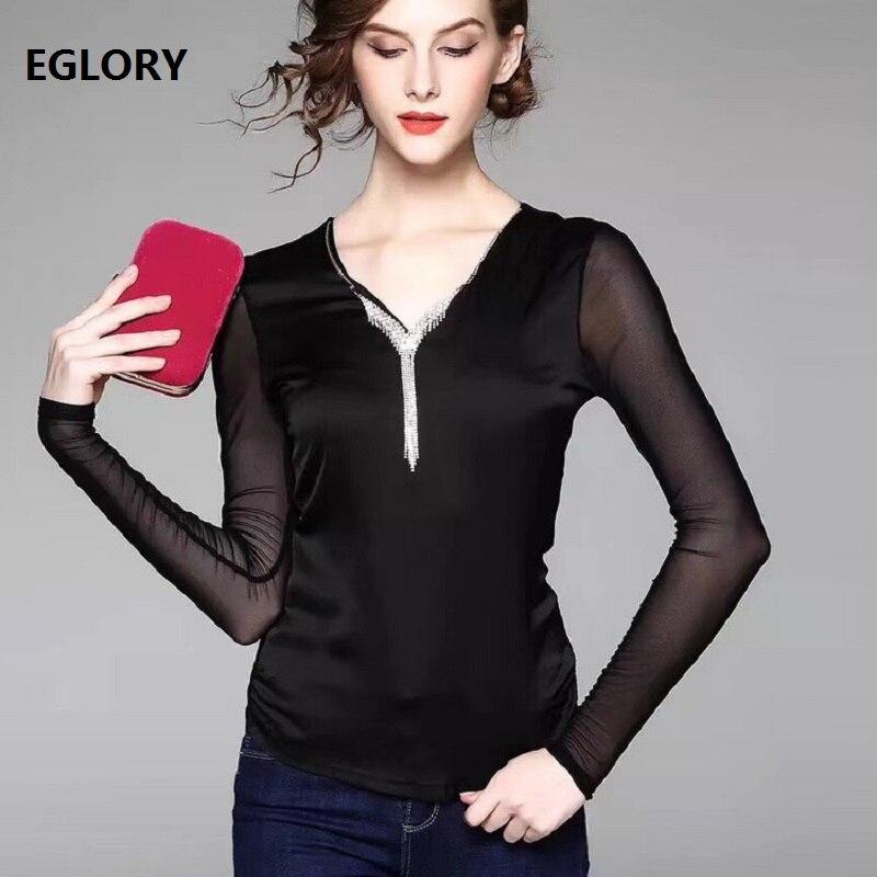 Haute qualité marque nouveaux hauts et t-shirts 2018 automne hiver printemps hauts femmes perles gland col en v à manches longues noir rose hauts t-shirt