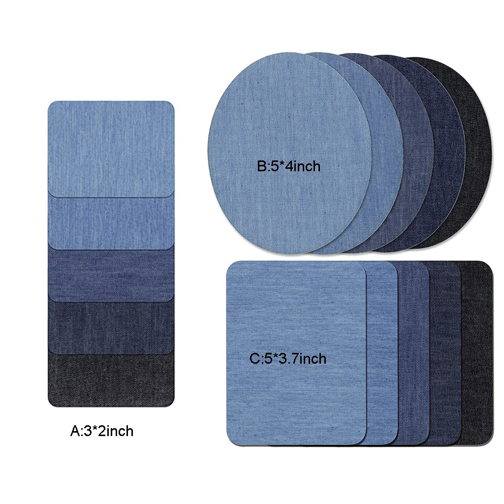 Essencedelight Patch Set Denim Iron On Patches No-Sew Shades Assorted Applique Repair Geometric Patch DIY Clothing Jeans Sewing Kit