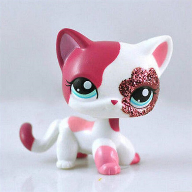 Lps Pet Shop Sparkle Eyes White Red Short Hair Kitty #38 Anime Action Figure Girl's Collection Classic Pet CAT Kids Toys