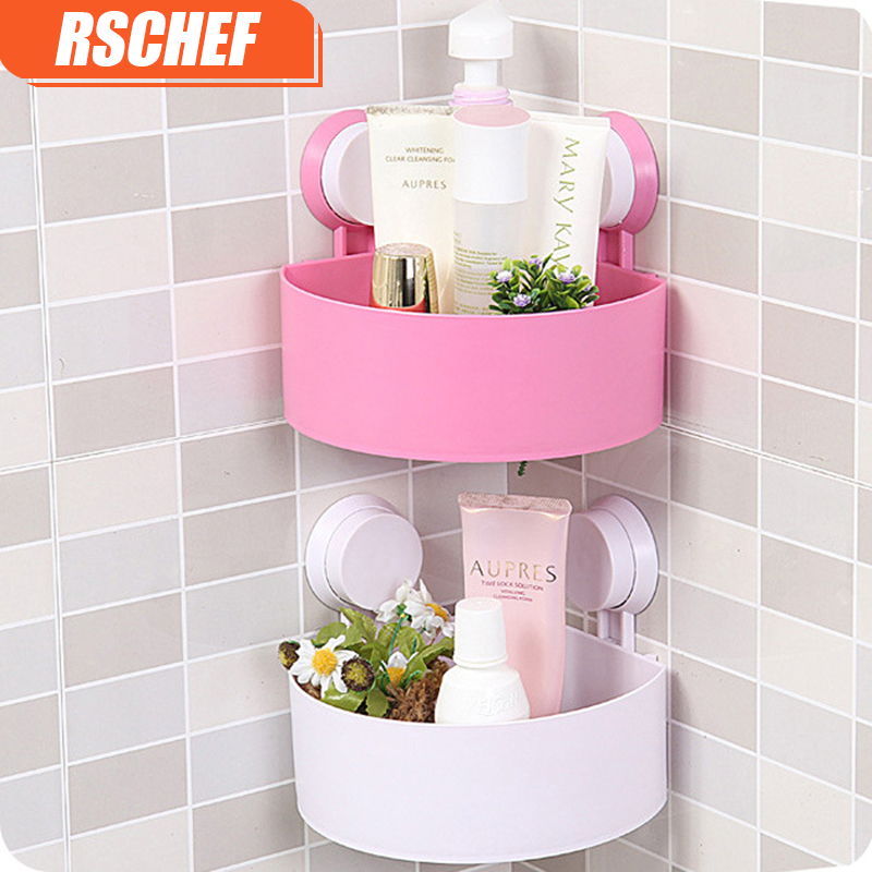OUSSIRRO Mounted Sucker Corner Type Kitchen Storage Holder Bathroom Holder for Kitchen Shelves for Bathroom Wall Shelf Shelving