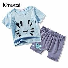 цена на Kimocat Baby Boy Clothes Children Summer Infant Boys Clothing Set Cartoon Kids Tops Shorts T-Shirt+Shorts Baby Cotton Clothes