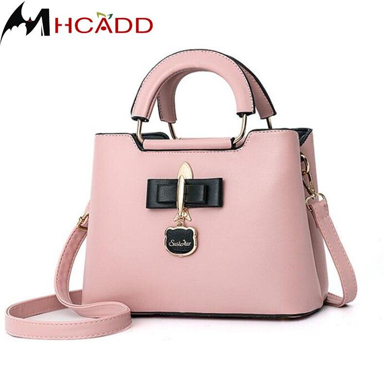 все цены на MHCADD Brand Women's Pink Messenger Bags Casual PU leather Shoulder Crossbody Bag Female Handbag Ladies Totes Top Handle Bag