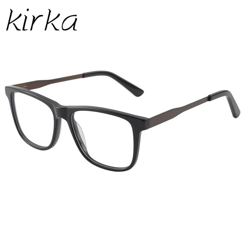 edbc42968 Kirka الأسود والبني اللون الأزياء إطار نظارات الرجال مربع الكلاسيكية  البصرية الكبيرة الوجه نظارات إطار نظارات الرجال Oculos Gafas في Kirka  الأسود والبني ...