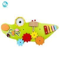 Logwood Kinder spielzeug holz baby spielzeug Wand Spiel Musik spielzeug Modell Gebäude Kits Pädagogisches spielzeug krokodil Spiel für kid