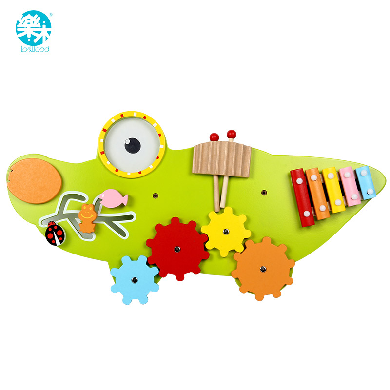 Logwood Children toy wooden baby toys Wall Game Music toy Model Building Kits Educational toys crocodile Game for kid