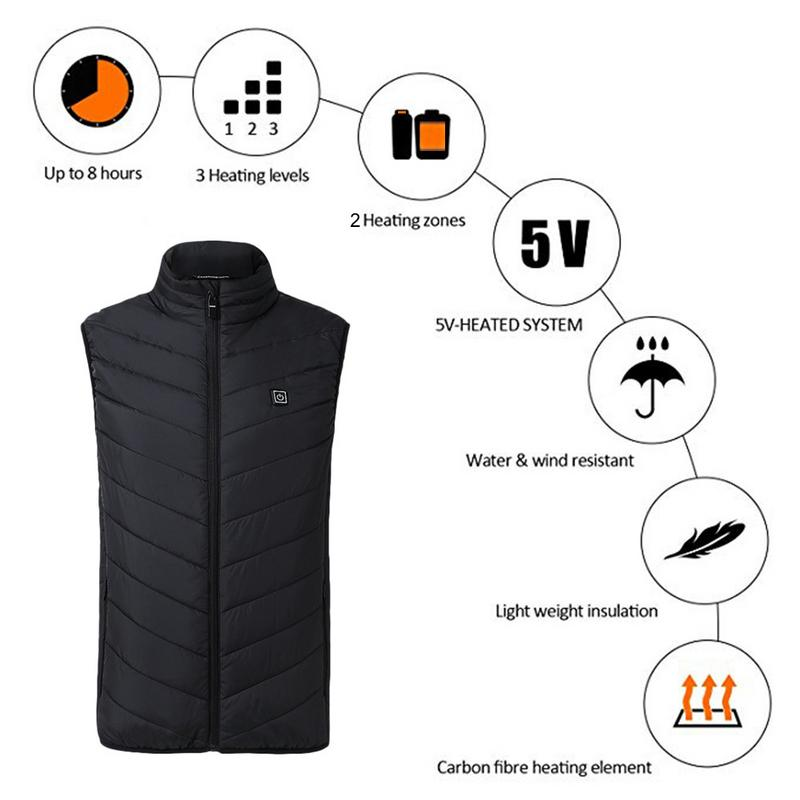 Outdoor Sports Fishing Graphene Electric Heated Vest USB Security Intelligent Constant Temperature Heating Vest large size autumn and winter men s stand collar heating cotton vest graphene electric vest adjustable usb charging heated cloth