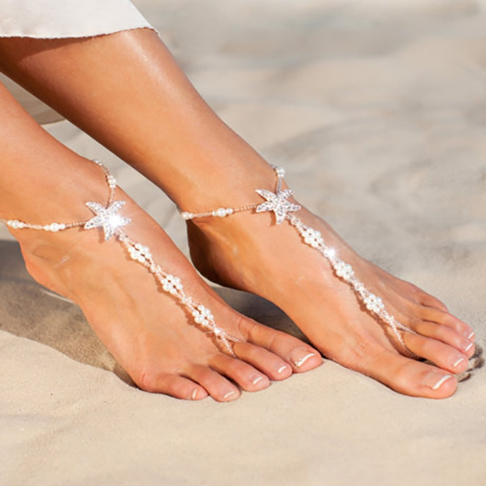 Sexy Crystal Star Anklets Charm Beach White Starfish Pearl Jewelry Sandals  Barefoot Ankle Beads Chain Bridal ... 9516ae39c57a