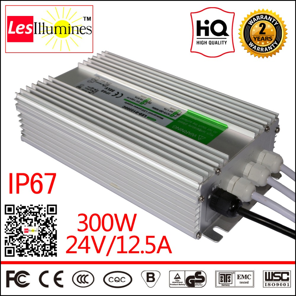 Waterproof AC DC 110V 220V 24V LED Strip Light Driver Transformer IP67 CE Approval Outdoor 300W 12.5A Switching Power Supply 24V led driver transformer waterproof switching power supply adapter ac110v 220v to dc5v 20w waterproof outdoor ip67 led strip lamp
