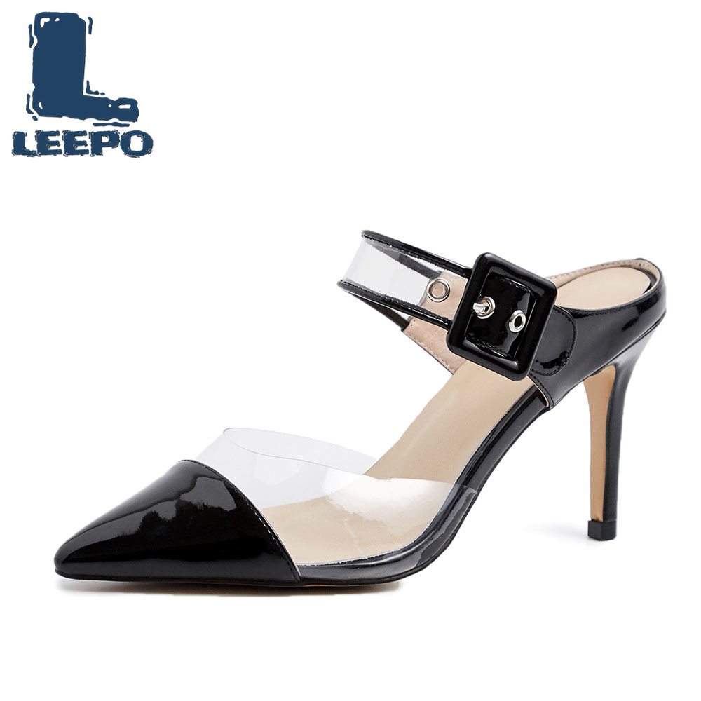LEEPO Women Comfort Transparent Slingbacks High Heels Shoes Woman Handmade Individuality Heels Sandals Slippers Female Pumps