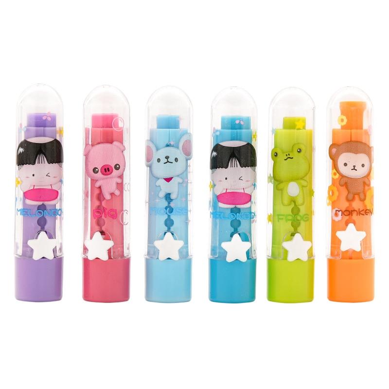 6 Pcs/lot Cartoon Lipstick Shape Eraser Set Pupils Painting Examination Cute Child Stationery