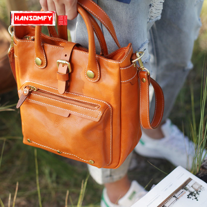 цены Autumn art vertical tote Women handbags portable briefcase retro soft leather large capacity female bag leather Messenger bag