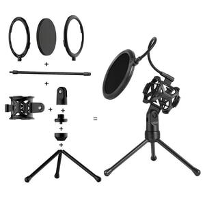 Image 5 - New Microphone Pop Filter Holder Stick Desktop Tripod Stand Anti Spray Net Kit PS 2